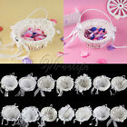 White Flower Basket Wedding Favors Decorations Flower Girl Basket  Home Decor