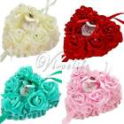 Romantic Heart Shape Rose Flowers Hanging Ring Pillow For Wedding Bridal Decor