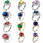 Topaz Silver/Gold Filled Size 6/7/8/9/10 Women Sapphire Finger Rings 1pc