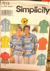 Simplicity 7613 Unisex Shirt Men's Ladies Women's Teen MANY SIZES OOP VINTAGE