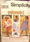 Simplicity 7150 Girl's Dress Top Pants Bag MANY SIZES OOP VINTAGE