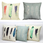 Vintage Colorful Feather Linen Throw Cushion Cover Pillow Case Sofa Pillowcases