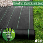Elixir Gardens Heavy Duty Ground Cover Membrane 1m, 2m, 3m, 4m, 5m Widths + Pegs
