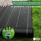 Woven Heavy Duty Ground Cover | Weed Membrane 1m, 2m, 3m, 4m, 5m Widths + Pegs