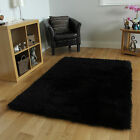 New Black Sparkles Shaggy Modern Area Rug High Quality Thick Soft Cheap Mats UK