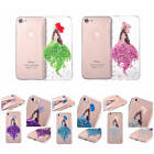 Clear Beautiful Girl Glitter Real Petal Pattern Case For iPhone TPU Soft Cover