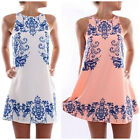 Women Summer Casual Floral Sleeveless Evening Party Cocktail Short Mini Dress