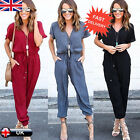 New Women Short Sleeve Clubwear Playsuit Bodycon Party Jumpsuit Romper Trousers