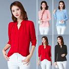 New Women Loose Summer Chiffon Casual Long Sleeve Blouse Tops T shirt Plus Size
