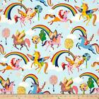 MAGIC RAINBOW SHINE UNICORNS BLUE QUILT CRAFT FABRIC ** FREE OZ POST **