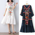 Women Vintage Ethnic Mexican Embroidered Cotton Spliced Long Boho Loose Dress