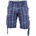 Mens Shorts Brave Soul Tartan Checked Combat Cargo Knee Length Cotton Summer New
