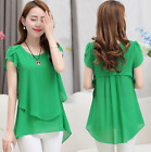 New Summer Plus Size Women Chiffon Blouses O-Neck Short Sleeve Casual Tops