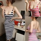 Sexy Women Lady Backless Spaghetti Strap Bodycon Striped Cocktail Party Dress SZ