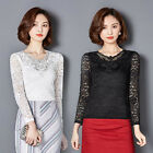 Delicate Womens Lace V Neckline Blouse Tops Fashion Lady Long Sleeve Tee Shirts