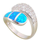 OR873 Shining Zircon Design Blue Fire Opal Silver Fashion Jewely Rings for Women