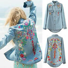 Women Vintage Floral Embroidered Long Sleeve Lapel Blue Denim Top Blouse Shirt