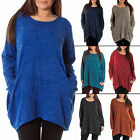 New Womens Lagenlook Marl Baggy Pocket Italian Tunic Top One Size 10 14 16