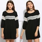 Women Casual 3/4 Sleeve Hollow Lace Patchwork Back Button A-Line Mini Dress N4U8