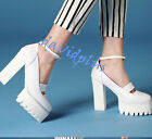 Womens Stylish Platform Anckle Buckle Block High Heels Europe style shoes Grace