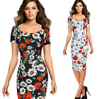 Women Summer Elegant Floral Printed Casual Wear To Work Party Bodycon Dress 4768