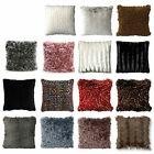 Fluffy Bedroom Living Sofa Faux Fur Square Filled Cushion Pillow