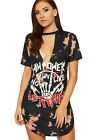 Womens Choker Plunge T-Shirt Dress Top Ladies Tie Dye Graphic Slogan Print New