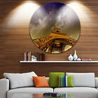 Designart 'Eiffel Tower and Gorgeous Sky' Photography Round Wall Art