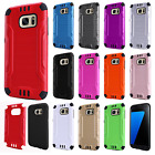 For Samsung Galaxy S7 Combat Brushed Metal HYBRID Rubber Hard Case Phone Cover