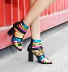 Womens Leather Multicolor High Chunky Heels Open Toe Roma Ankle Boots Sandals