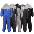 Boys Tracksuit Bottom Sweatshirt Hooded Quilted Diamond Patches Top Winter New