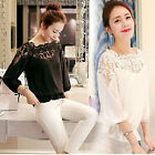 CHIC New Womens Loose Long Sleeve Chiffon Lace Casual Shirt Tops Fashion Blouse