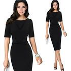 Womens Elegant Slim Tunic Casual Wear To Work Office Bodycon Sheath Dress 4689
