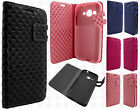 Samsung Galaxy Core Prime Premium Leather Wallet Pouch Checkered Flip Cover