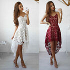 New Ladies Hollow Lace Cami Dress irregular Sleeveless V Neck Midi A Line Dress