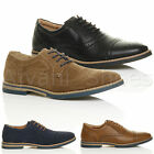 MENS ROUND TOE LACE UP SMART WORK FORMAL CONTRAST OXFORD SHOES BROGUES SIZE