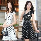 Sexy Career Women's High Waist Slim Short Sleeve V Neck Polka Dot Dress DZ88