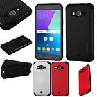 For Samsung Galaxy J3 J3V Mat Weave Hybrid Dual Layered Case Phone Cover