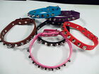 Studded Small Spiked Dog Pet PU Leather Collar Puppy Pink Red Black Purple NEW!