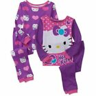Hello Kitty 4 PC Long Sleeve Tight Fit Cotton Pajama Set Girl Size 4T