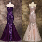Sequins Mermaid Formal Bridesmaid Gown Celeb Pageant Prom Evening Party Dresses