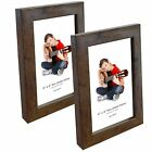 "Brown Rustic Wood Photo Frames 4"" x 6"" Picture Frame Wall & Desk Mountable"