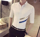 New Men's Fashion Slim Fit Comfy Button Down Casual Shirt Top Black White M-XXL