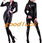 Shiny Zipped Bodysuit Jumpsuit Zentai Suit Dance Catsuit Party Club Costume