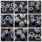 NEW 5pcs Rhinestones Loose Spacer Big Hole Metal Beads European Charms Bracelet