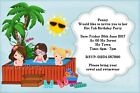 6X4 Personalised Hot Tub Birthday Party Invitations or Pool Party Invites HotTub