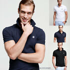Slim Fited Mens T-Shirt Polo Shirts Short Sleeve Basic Colored Tee Stretch Lycra