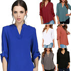 CH Fashion V-neck Womens Tops OL Long Casual Sleeve Chiffon Blouse T Shirt New