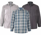 Mens Big Size Polycotton Check LONG Sleeve Shirt Soft Work Casual 2-8XL