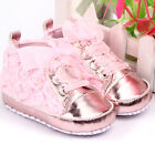 Spring 0-12M Baby Infant Girl Soft Sole Crib Shoes Sneakers Lace Bow Prewalker